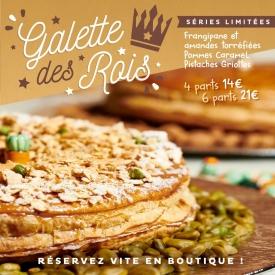 C'est 👑 l'Épiphanie 👑 ! La galette des rois est arrivée ! Frangipane et amandes torréfiées, Pommes Caramel, Pistaches Griottes, en 4 ou 6 parts ! On vous attend vite en boutique  📞  Réservez vite en appelant votre boutique préférée !  #aupetitprince #auray #baud #carnac #belz #locoal #pastry #patisserie #nouvelan #reveillon #31decembre #pastrychef #yummy #miam #instafood #foodporn #relaisdesserts